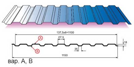 Профилированный лист МП-20х1100-A, B